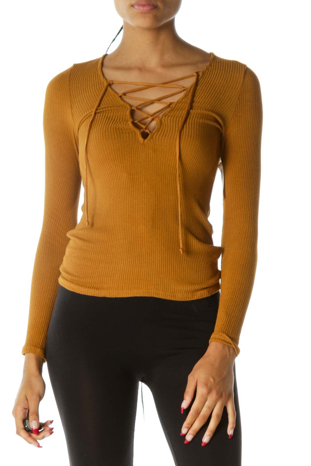 Mustard Yellow Crisscross Ribbed Texture Long Sleeve Stretch Top Front