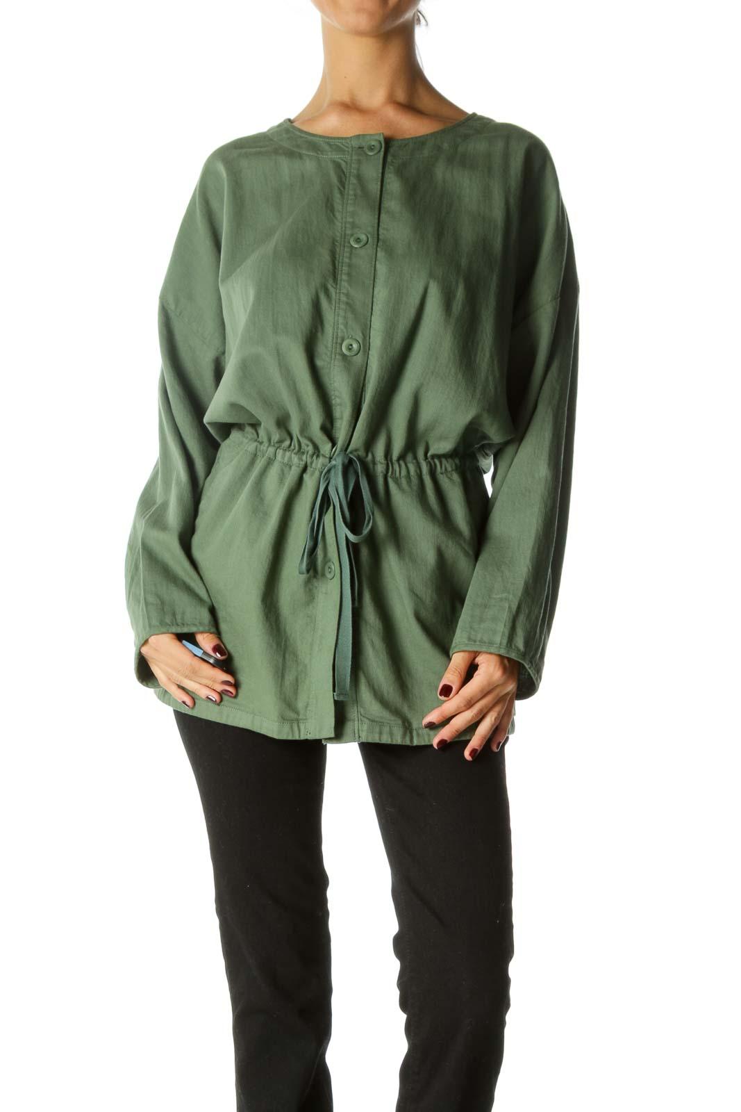 Green Light Weight Round Neck Jacket Front