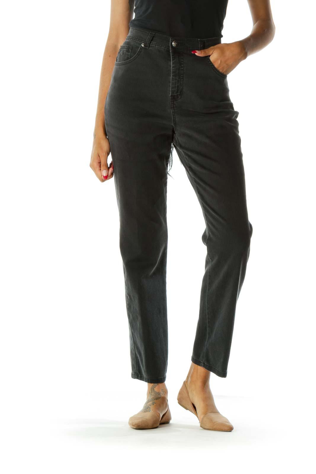 Black High-Waisted Denim Jeans Front