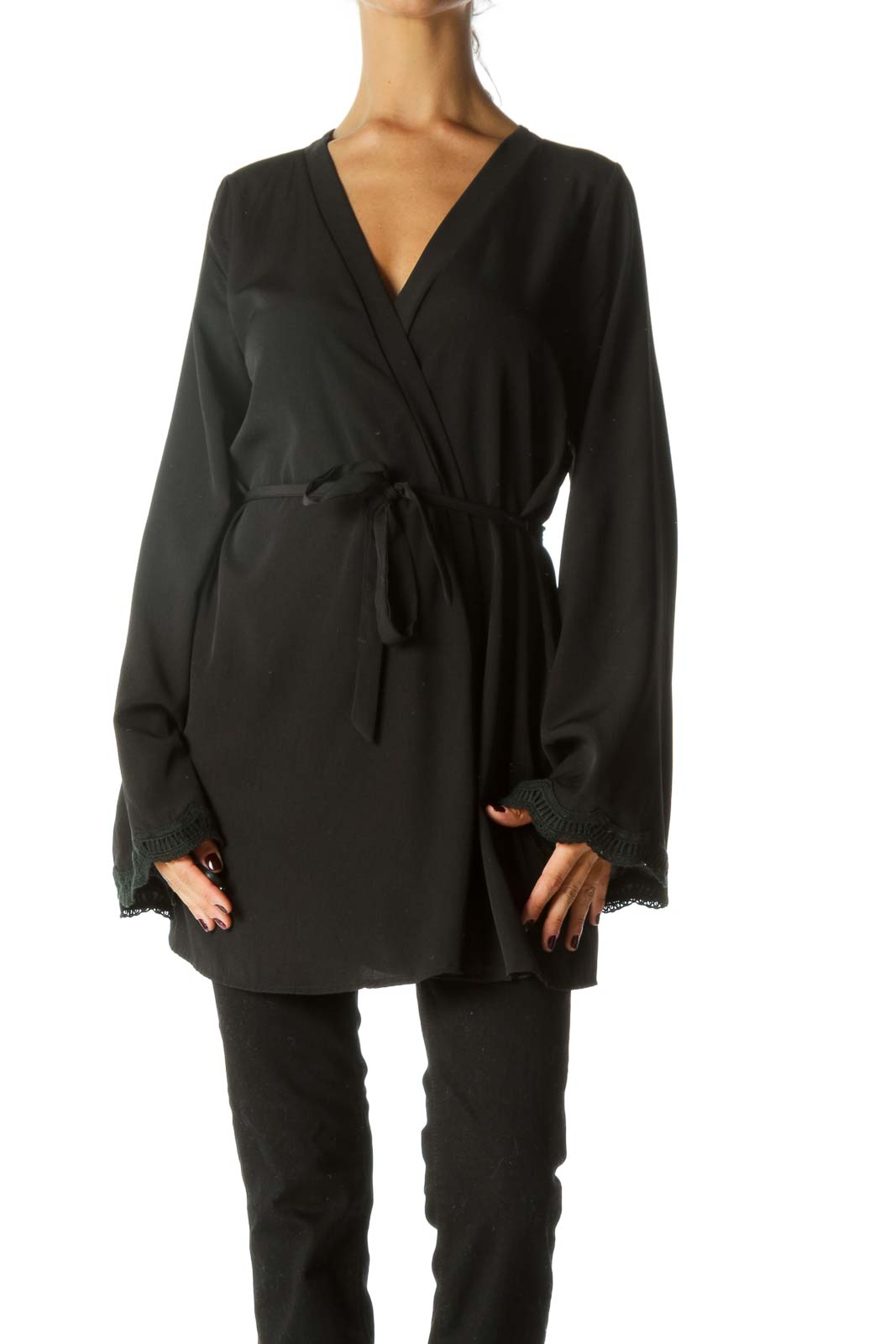 Black Belted Knit Sleeves Trimming Light Cardigan Front