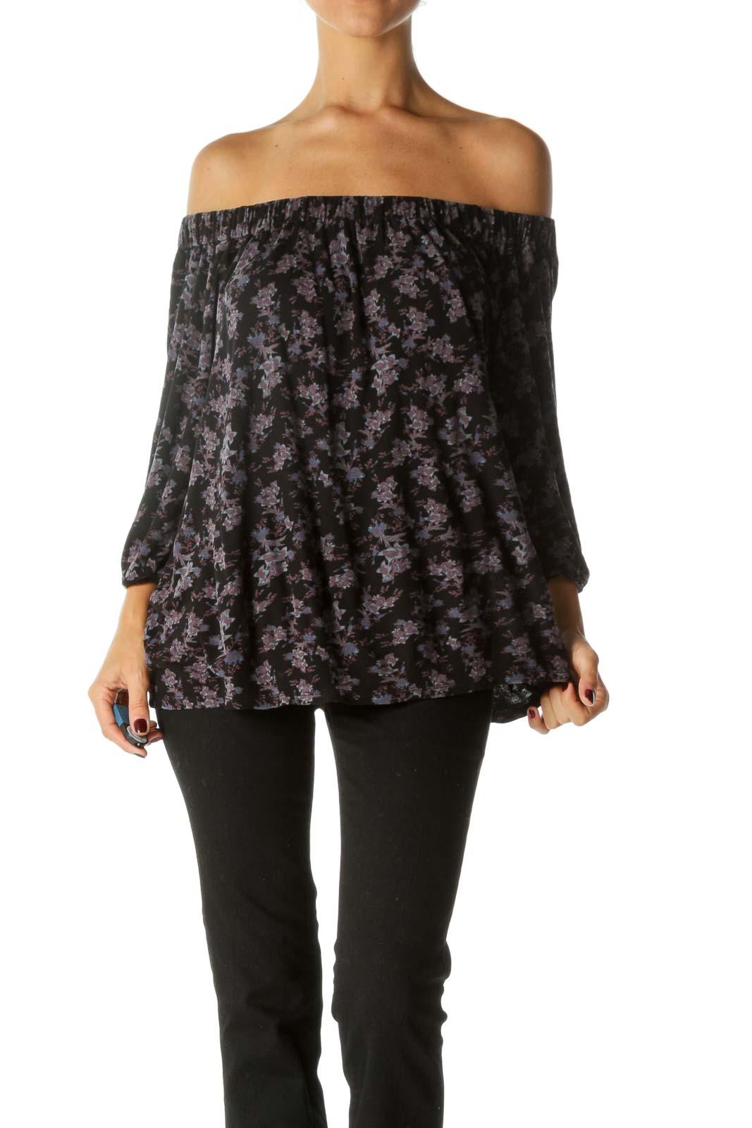 Black Purple Cold Shoulder Floral Print 3/4 Sleeve Knit Top Front