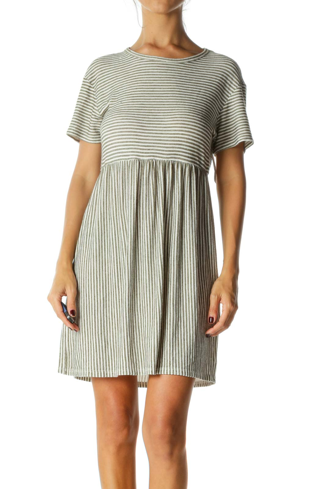 Green White Striped Round Neck Short Sleeve Knit Dress Front