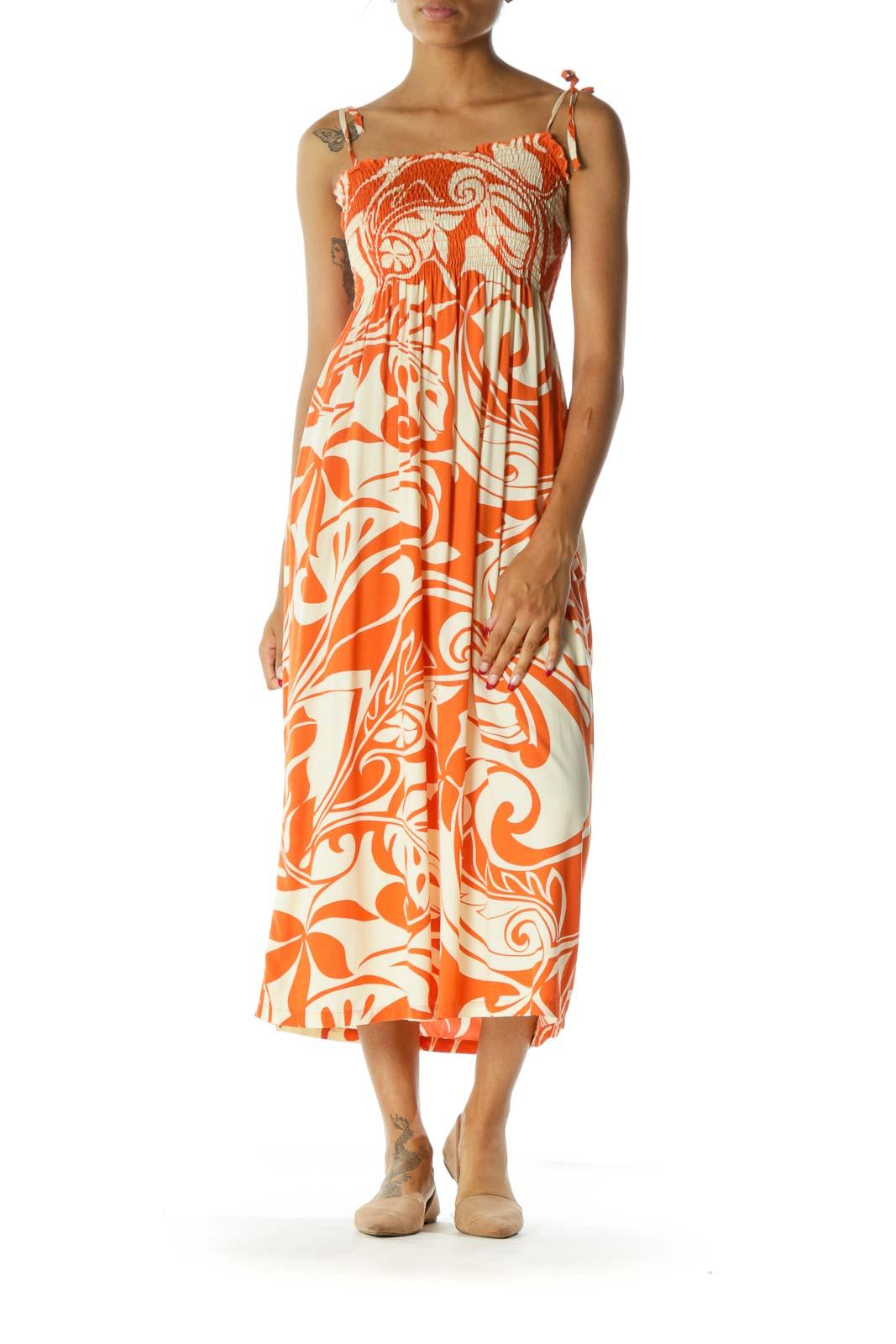 Orange Cream Shirring Printed Long Day Dress Front