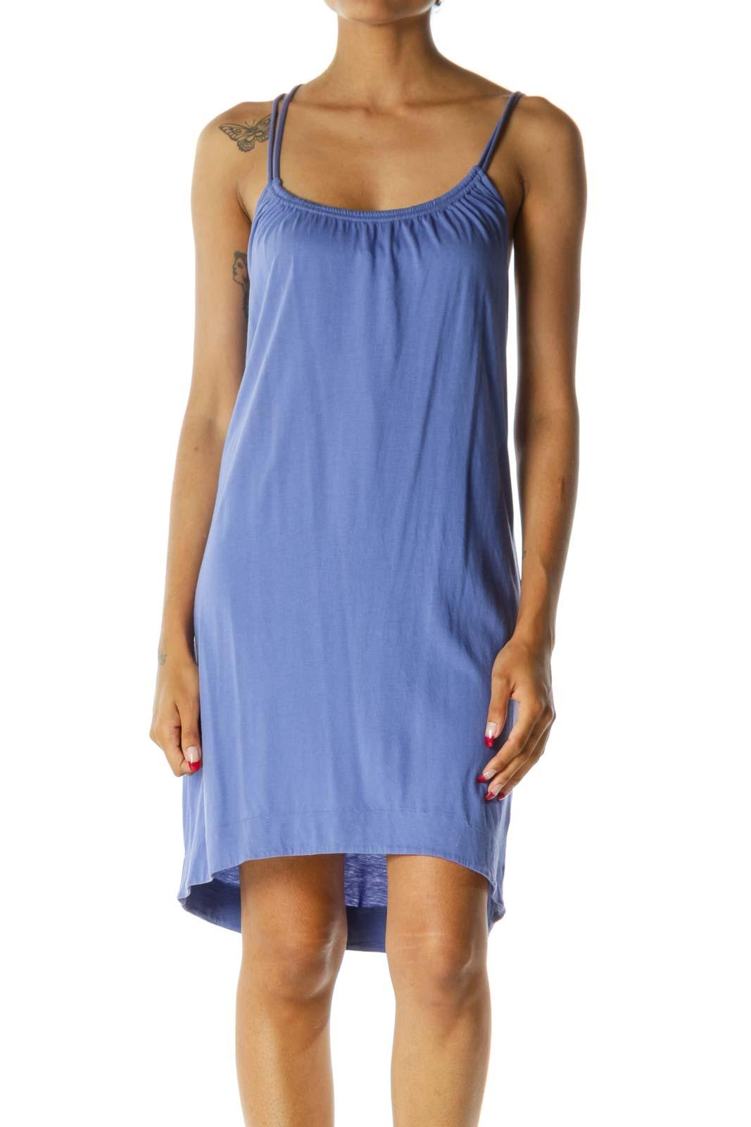 Blue Elastic Neckline Spaghetti Strap Soft Lightweight Dress Front