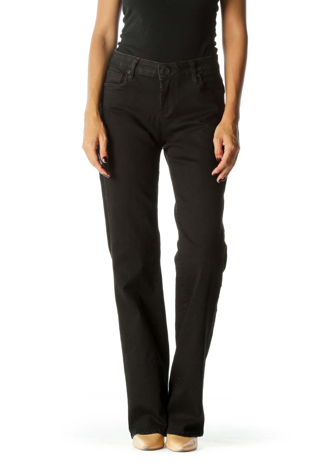 Black Low-Rise Boot-cut Denim Jeans Front