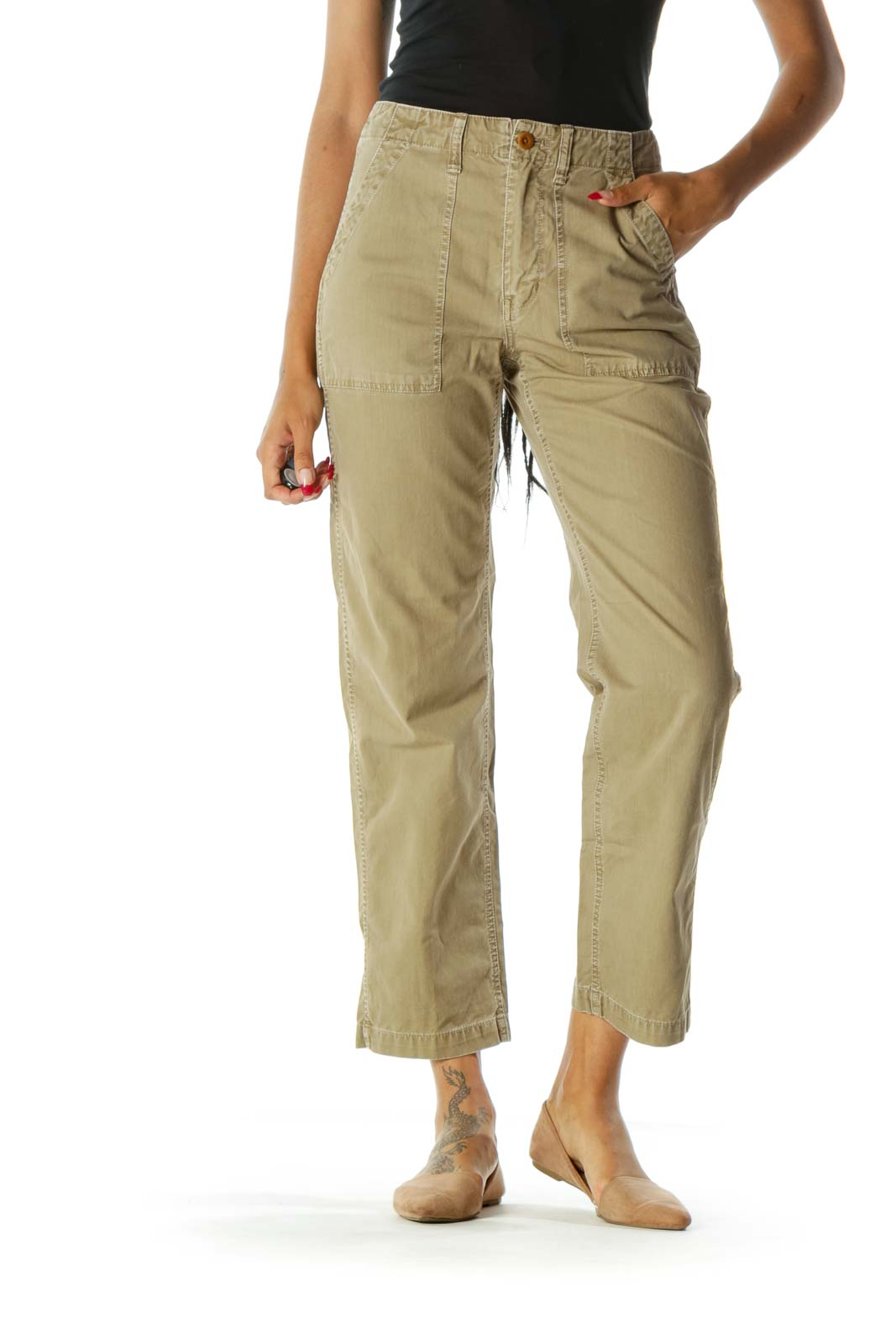Washed Green 100% Cotton Pocketed Denim Cargo Pants Front