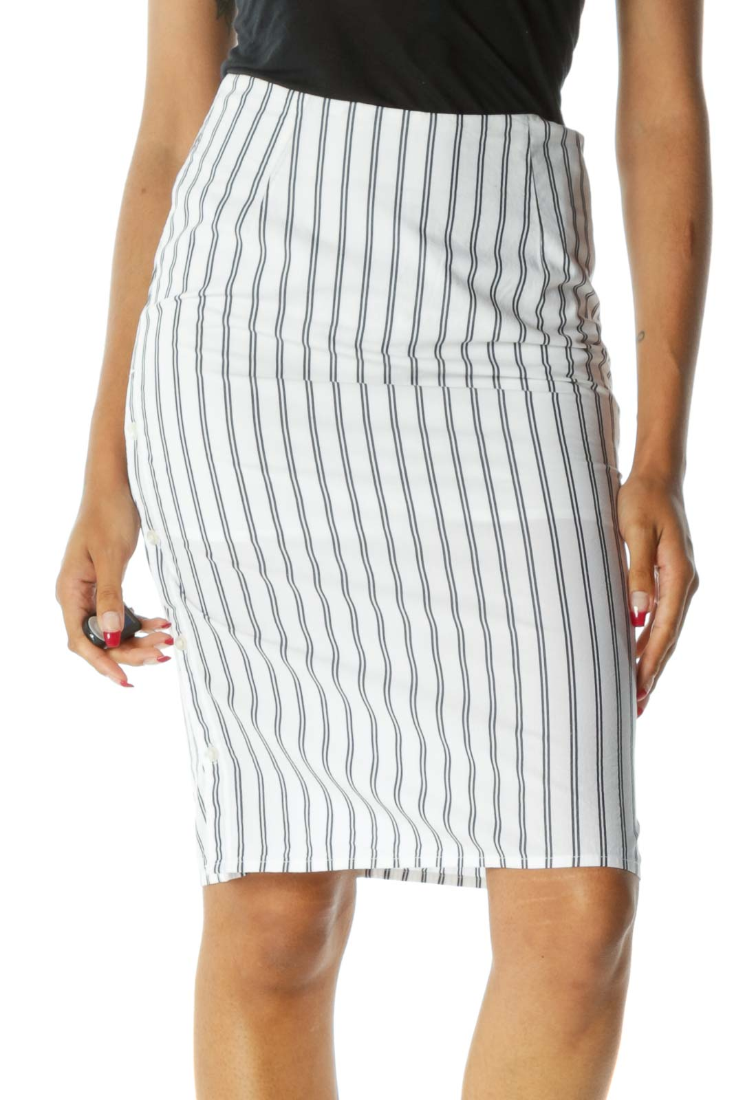 White Black Striped 100% Cotton Side-Buttons Midi Skirt Front