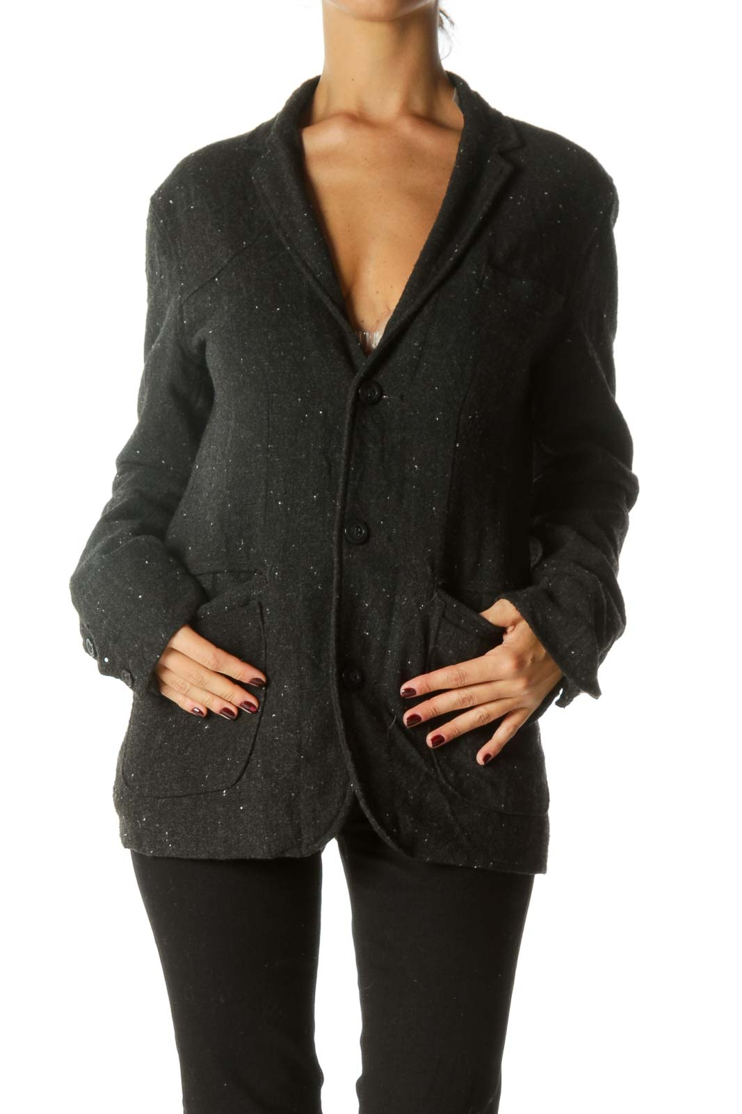 Dark Gray White Knit Collared Pocketed Lined Jacket Front