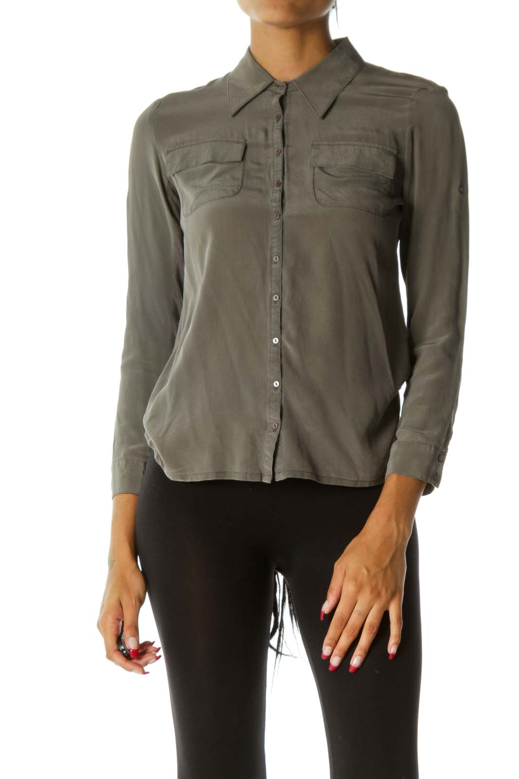 Gray Bamboo & Silk Button-Down Blouse Front