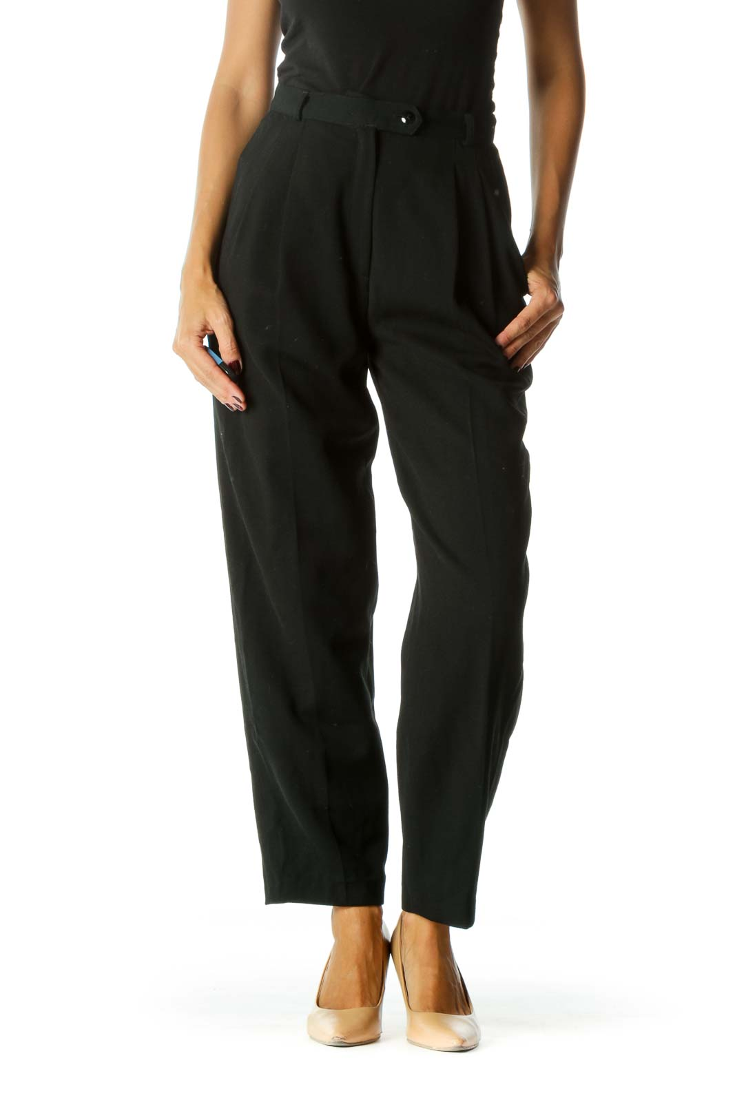 Black 100% Wool Designer High-Waisted Pants Front