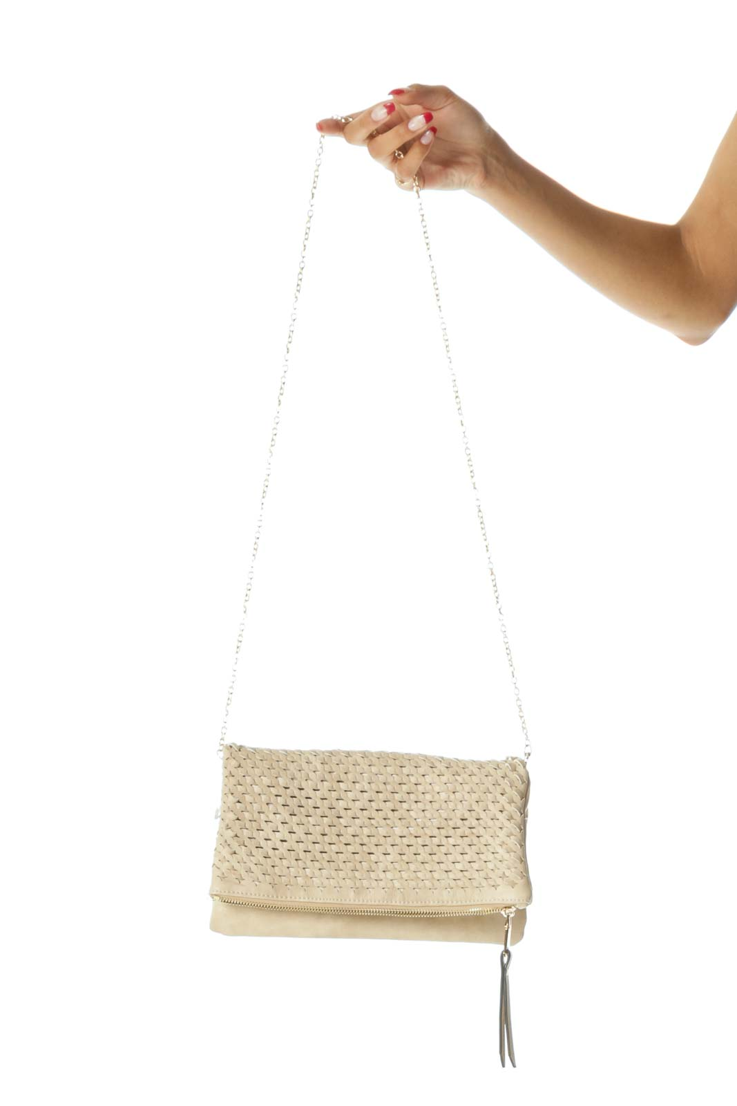 Beige Weaving Flap Detail Zippered Magnetic Closures Clutch Front