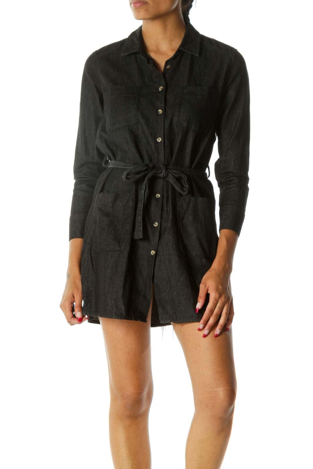 Black 100% Cotton Buttoned Belted Long Sleeve Light Denim Dress Front