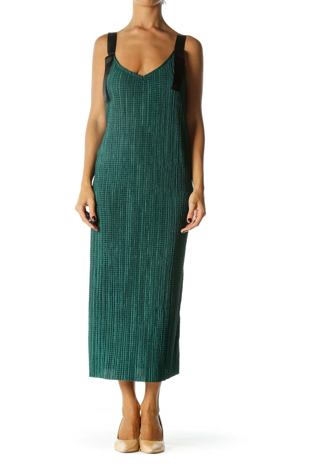 Emerald Green Black Knot Straps V-Neck Waffle Texture Stretch Dress Front