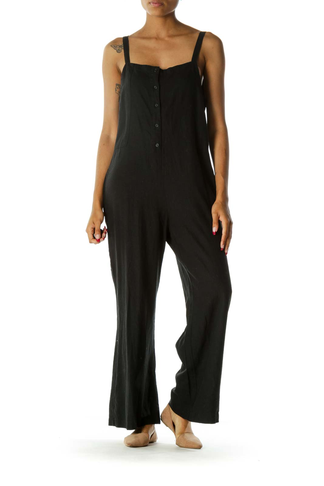 Black Linen Square Neck Buttoned Pocketed Jumpsuit Front
