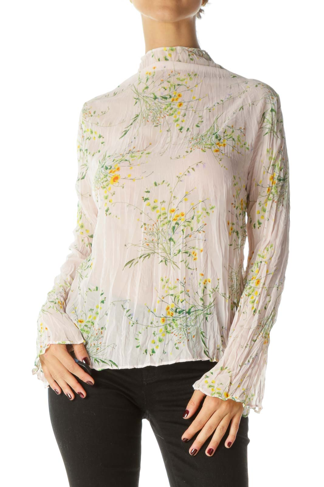 Pink Green & Yellow Floral Print Translucent High-Neck Long-Sleeve Blouse Front