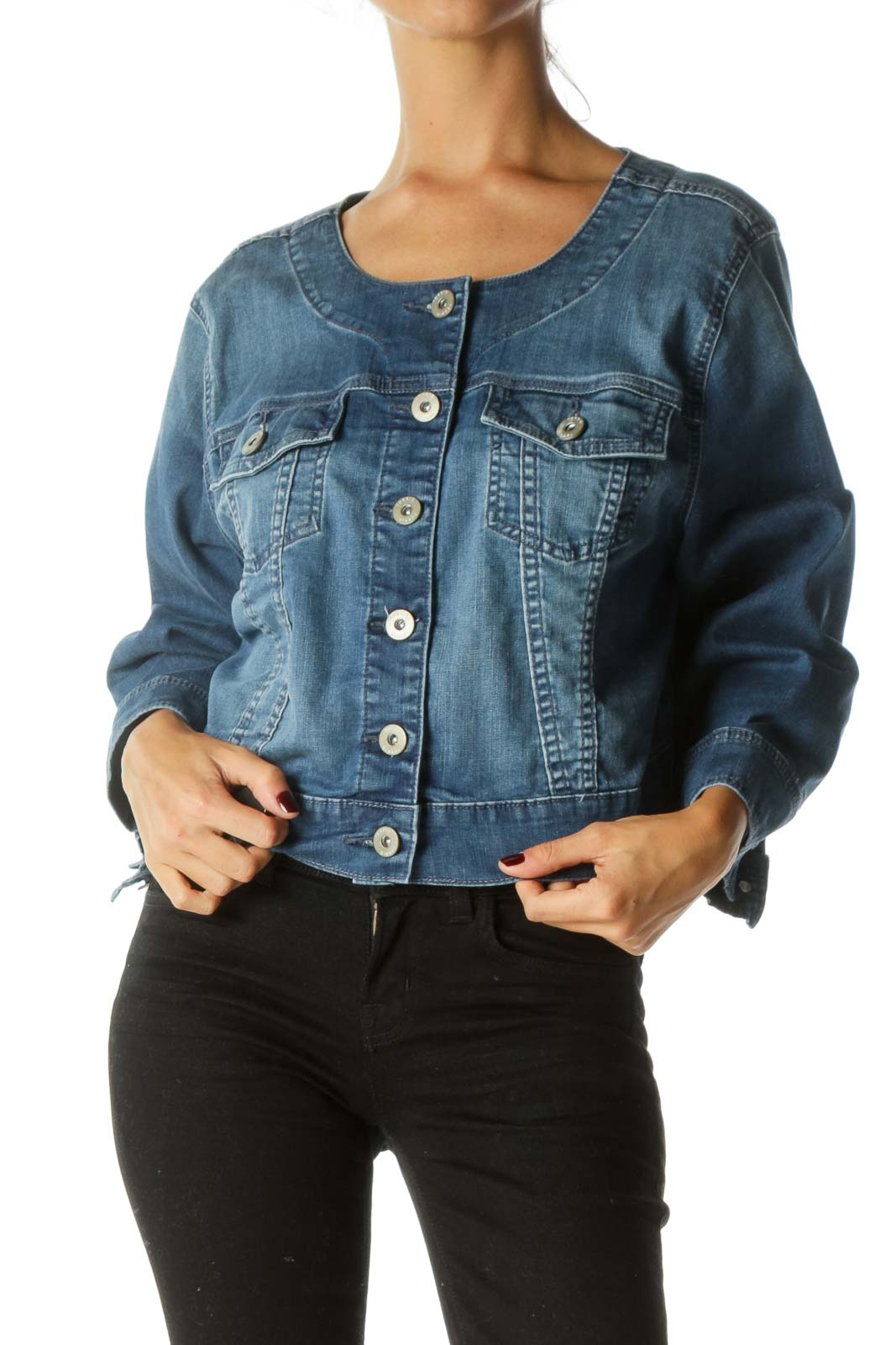 Blue Medium Wash Long Sleeve Breast Pockets Denim Jacket Front
