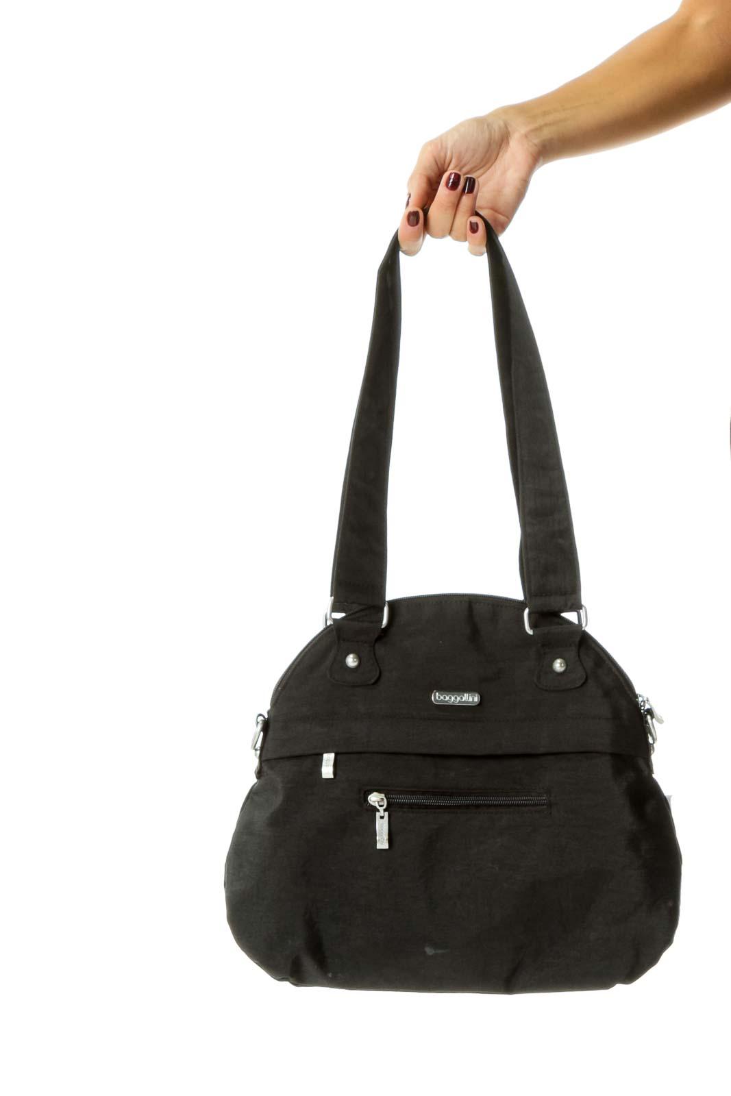 Black Multi Pocketed Shoulder Bag Front