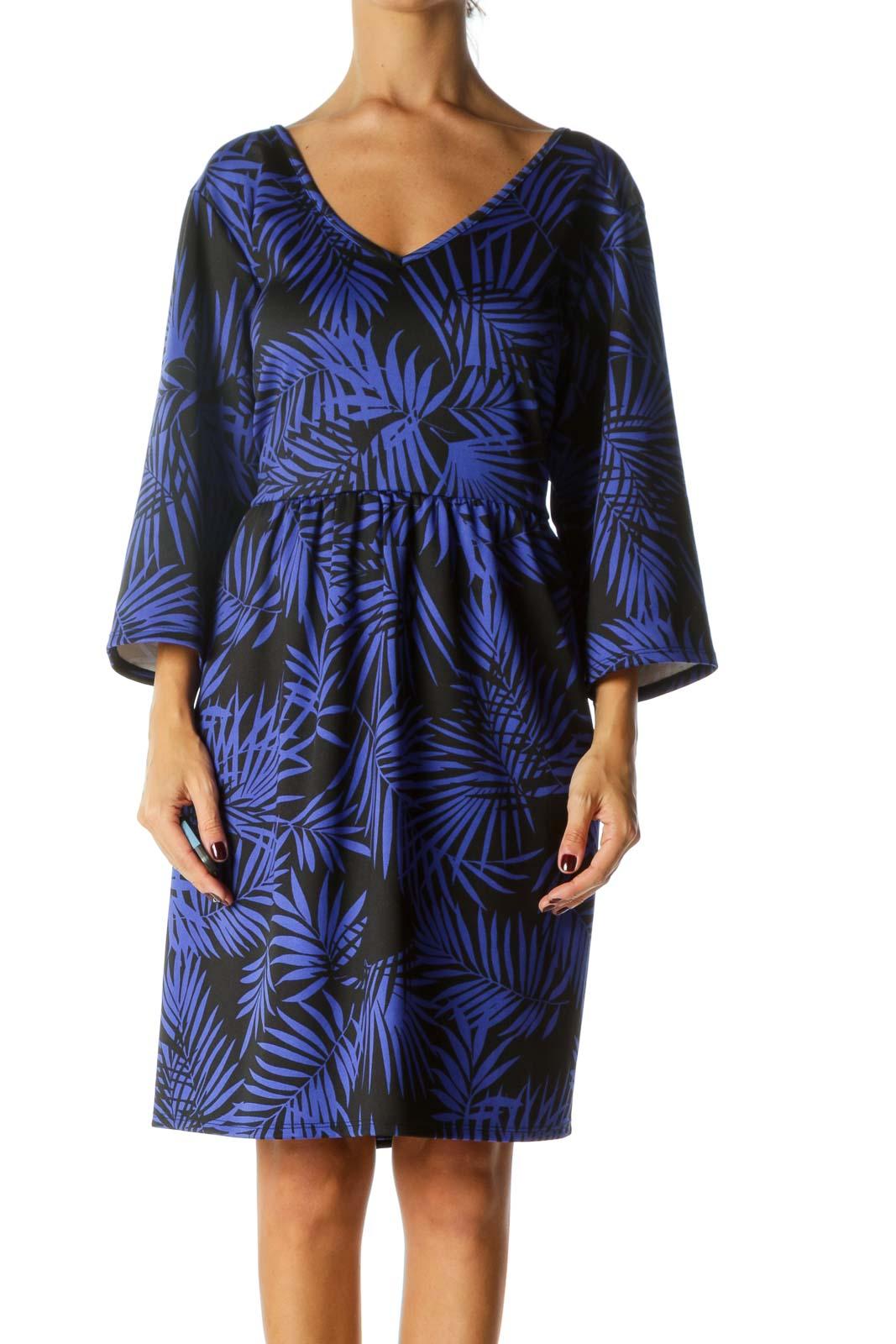 Black Blue Palm Leaves Print 3/4 Sleeve Pocketed Dress Front