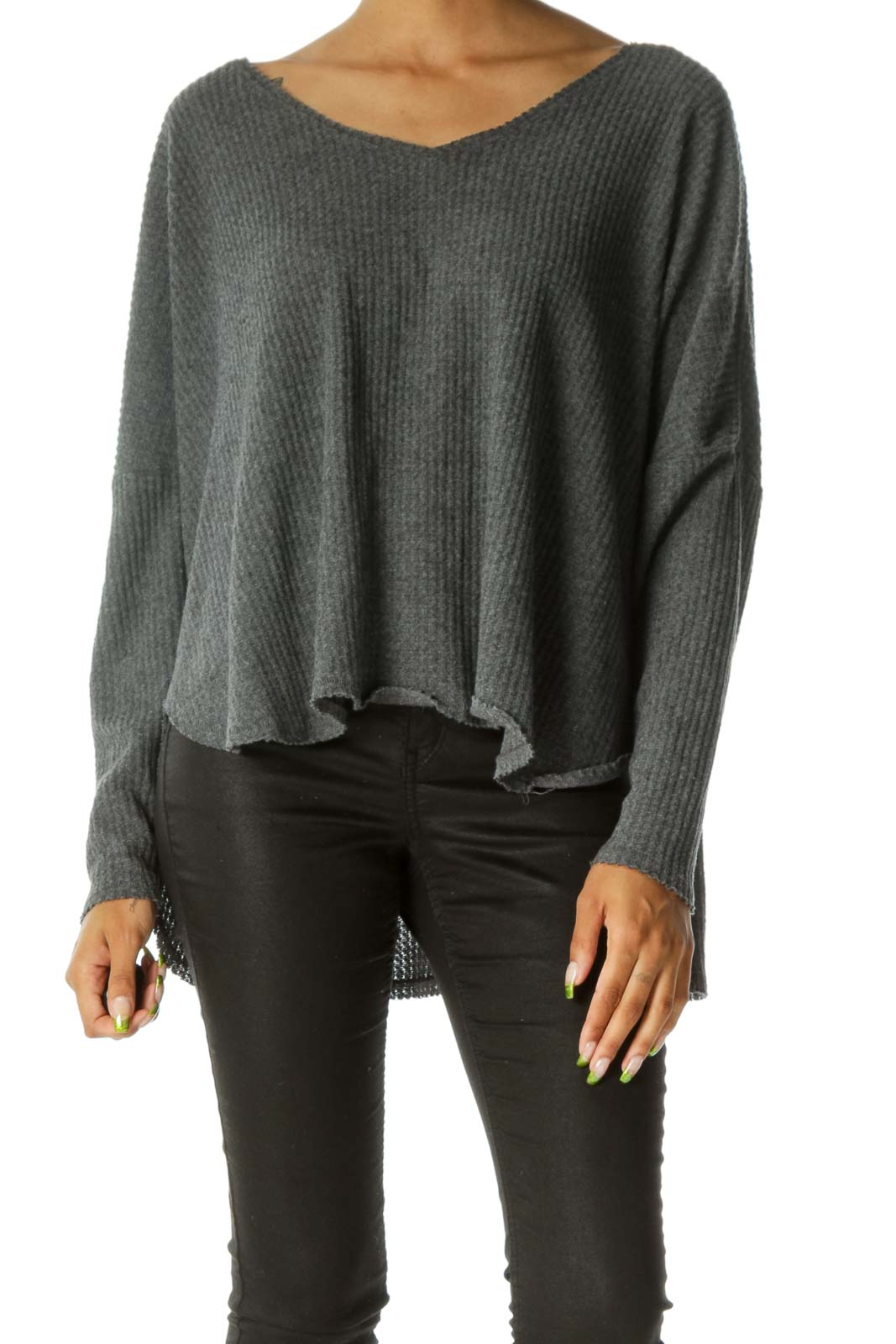 Gray Waffle Knit Round Neck Raw Hem Long Sleeve Top Front