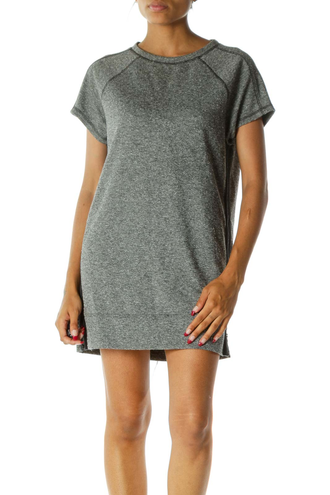 Gray Blue Round Neck Short Sleeve Pocketed Knit Dress Front