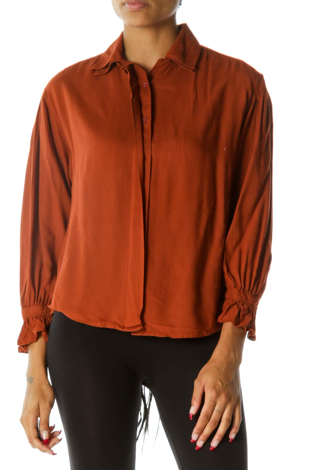 Orange Buttoned Long Sleeve Scrunched Sleeves Shirt Front
