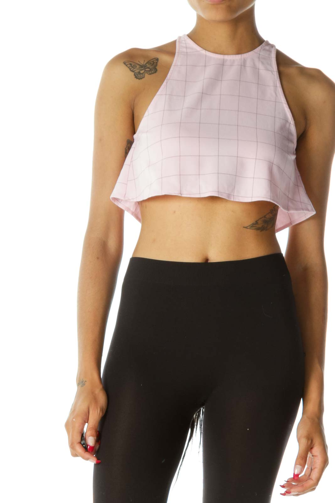 Light Pink Brown Windowpane Open Back Crop Top Front