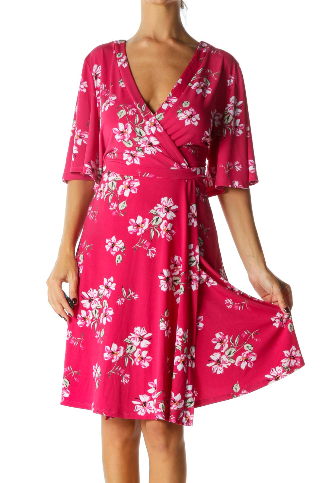 Pink White Green Floral Print Short Sleeves Stretch Mock Wrap Dress Front