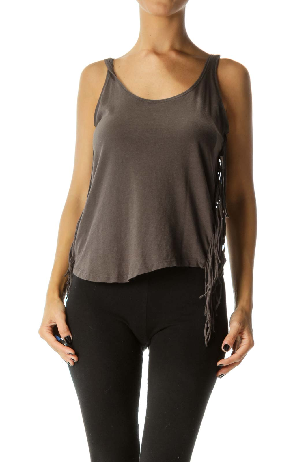 Gray Round Neck Fringe Tank Top Front