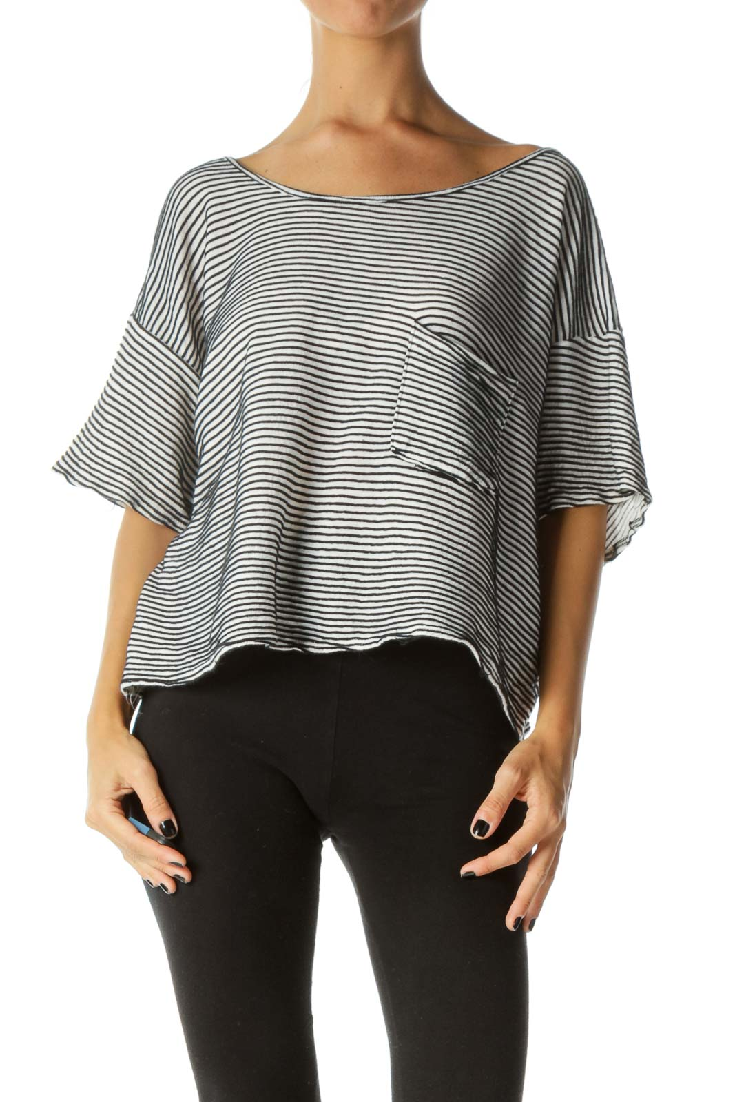 Black White 100% Cotton One-Pocket Striped Short Sleeve Knit Top Front