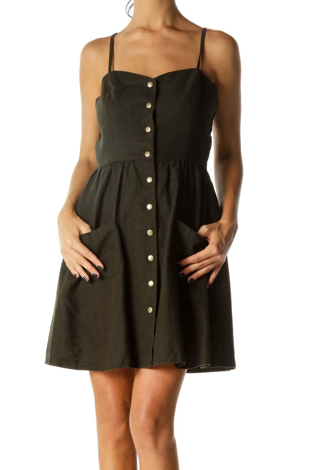 Green Sweetheart Knit Cotton Linen Blend Pocketed Dress Front