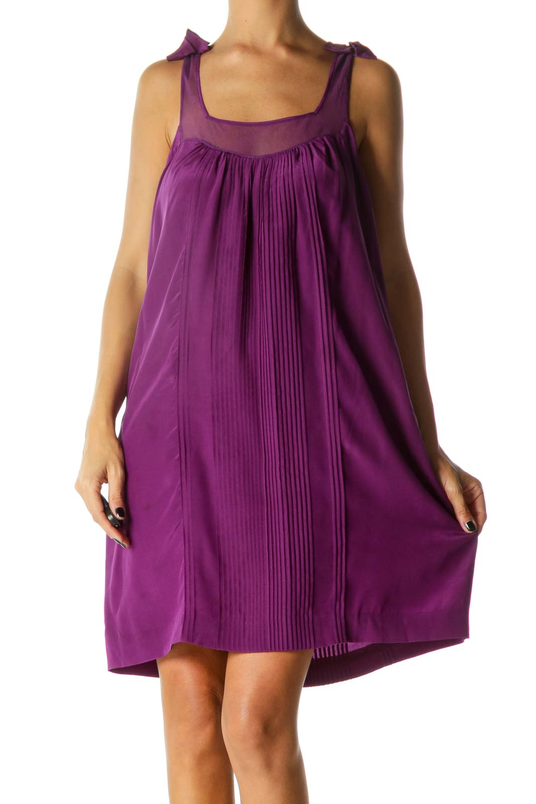Purple Bows Detail Square Neck Pleated Dress Front