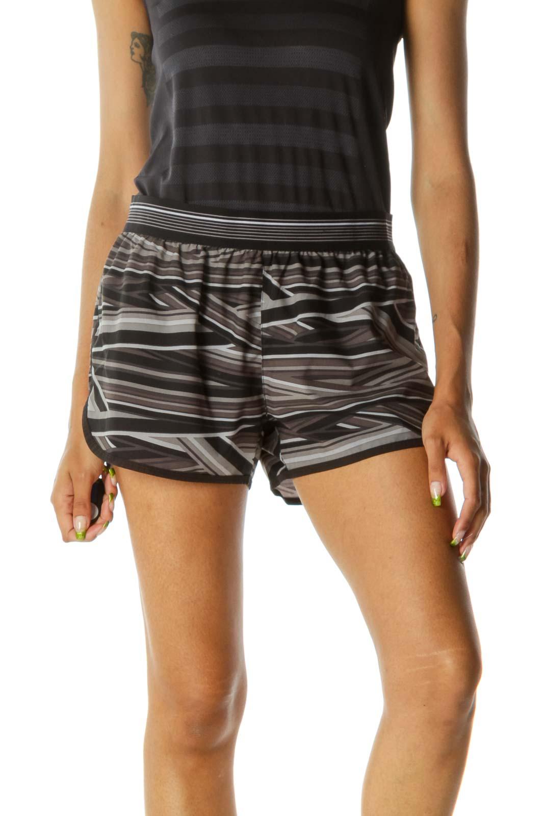 Black Stripe Sporty Shorts Front