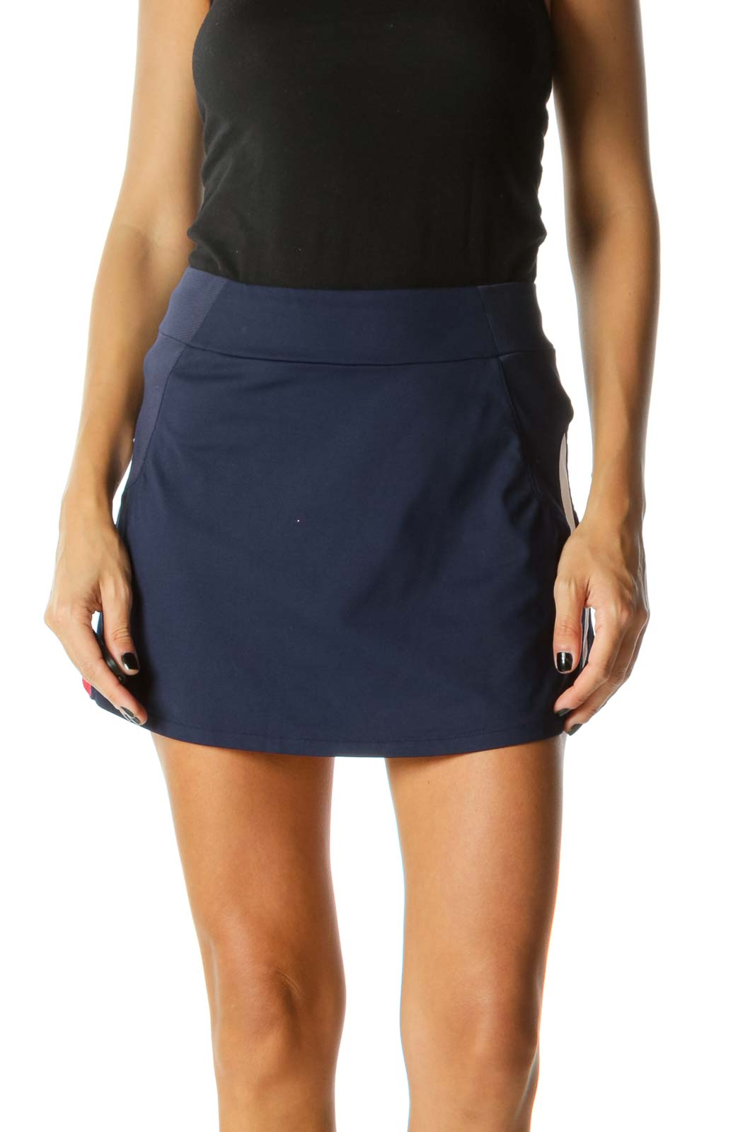 Navy Blue Red White Stretch Active Skirt Front