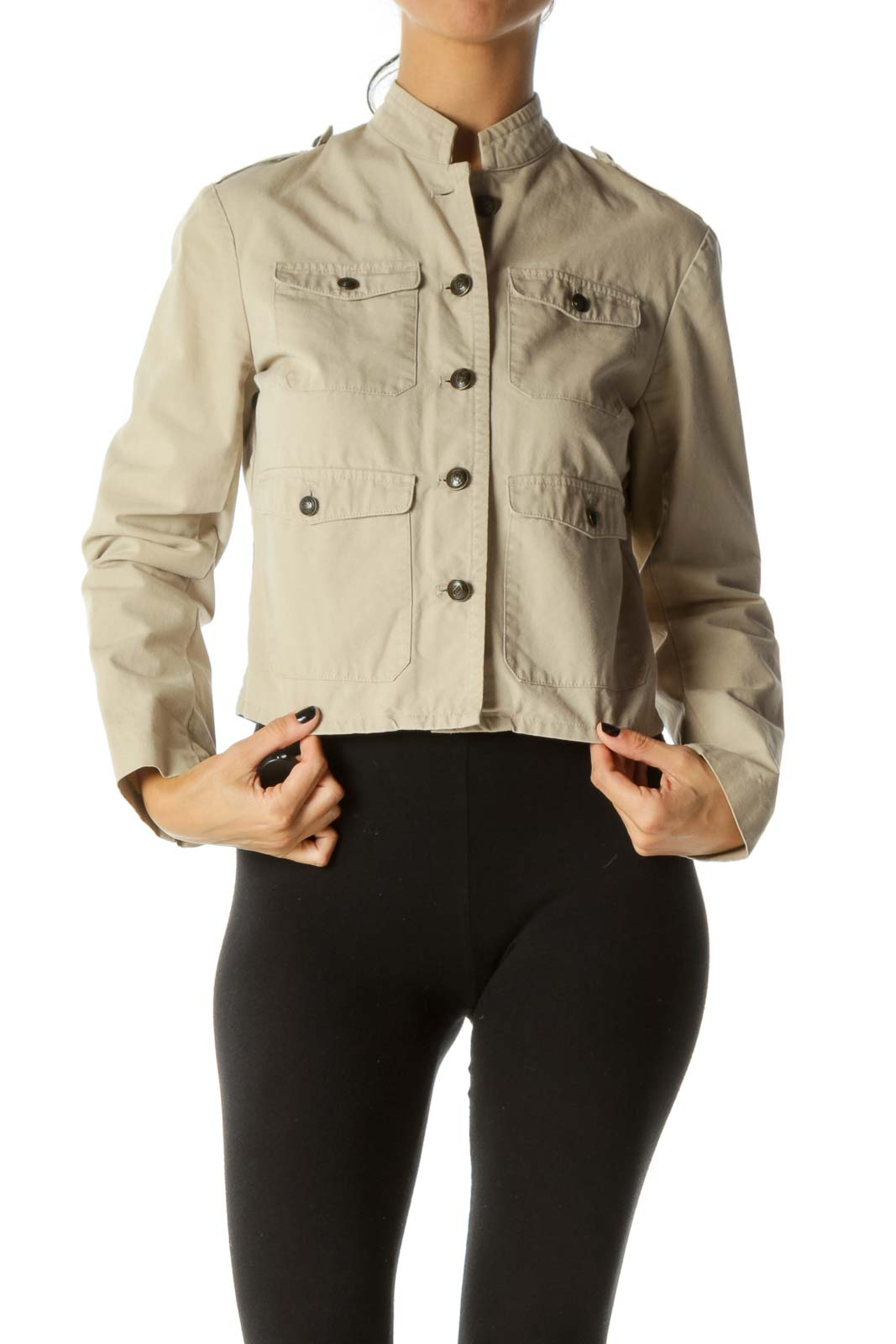 Beige Breast Pockets Buttoned Soldier Style Jacket Front