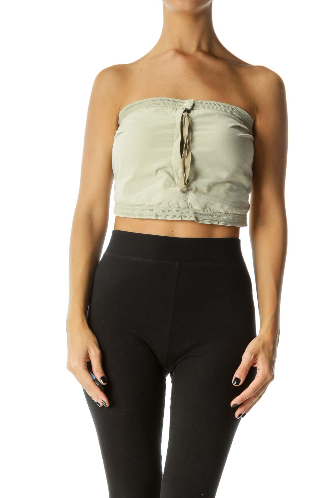 Faded Pistachio Green Zippered One-Button Tube Top Front