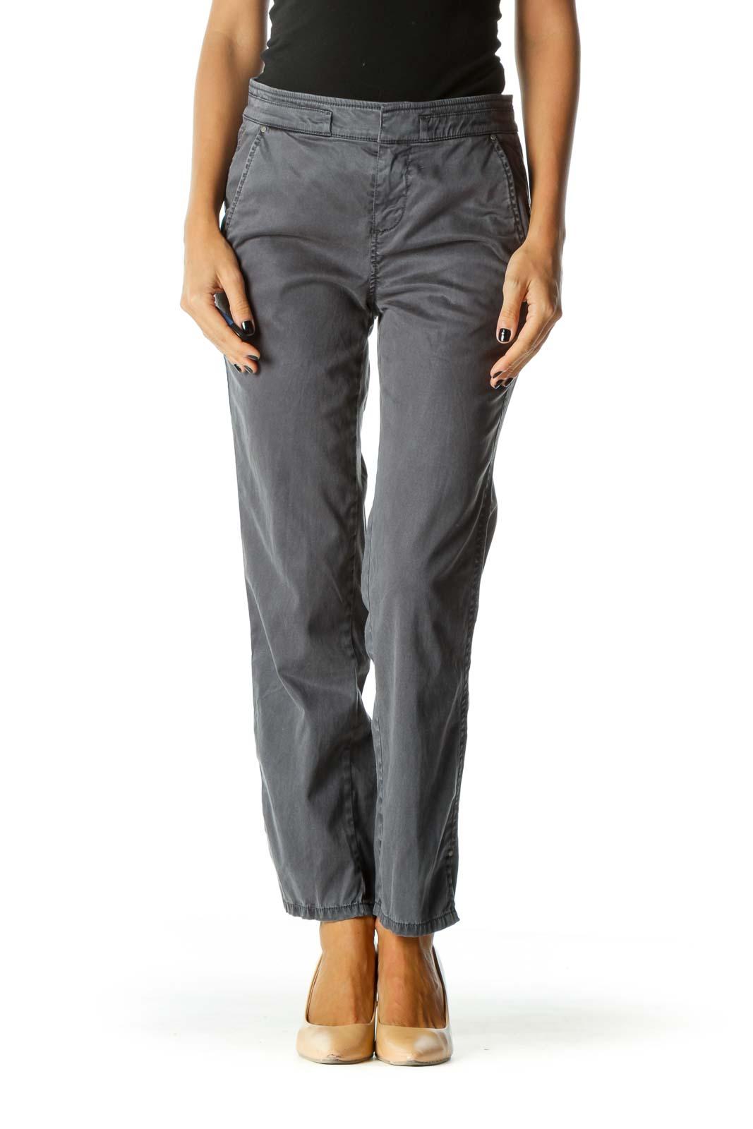 Gray Faded Wash Pocket3 Pants Front