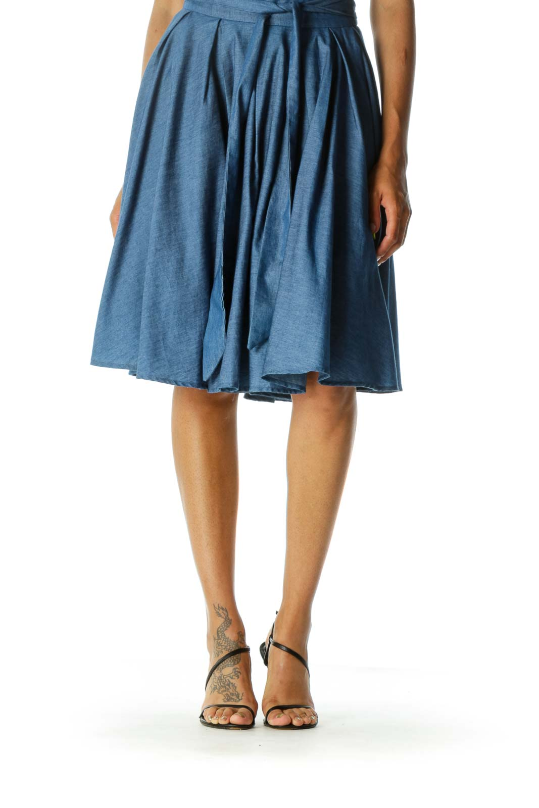 Blue Pleated Mid-Length Skirt with Inside Tulle Front
