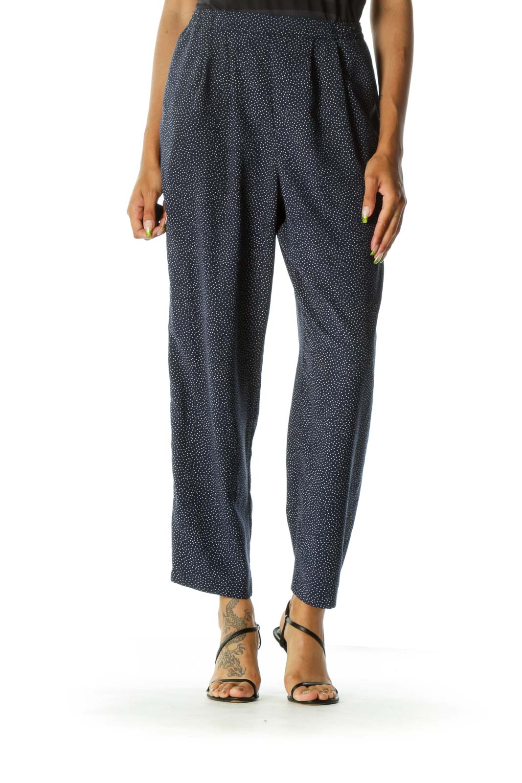 Blue Polka Dots Wide-leg Pants Front