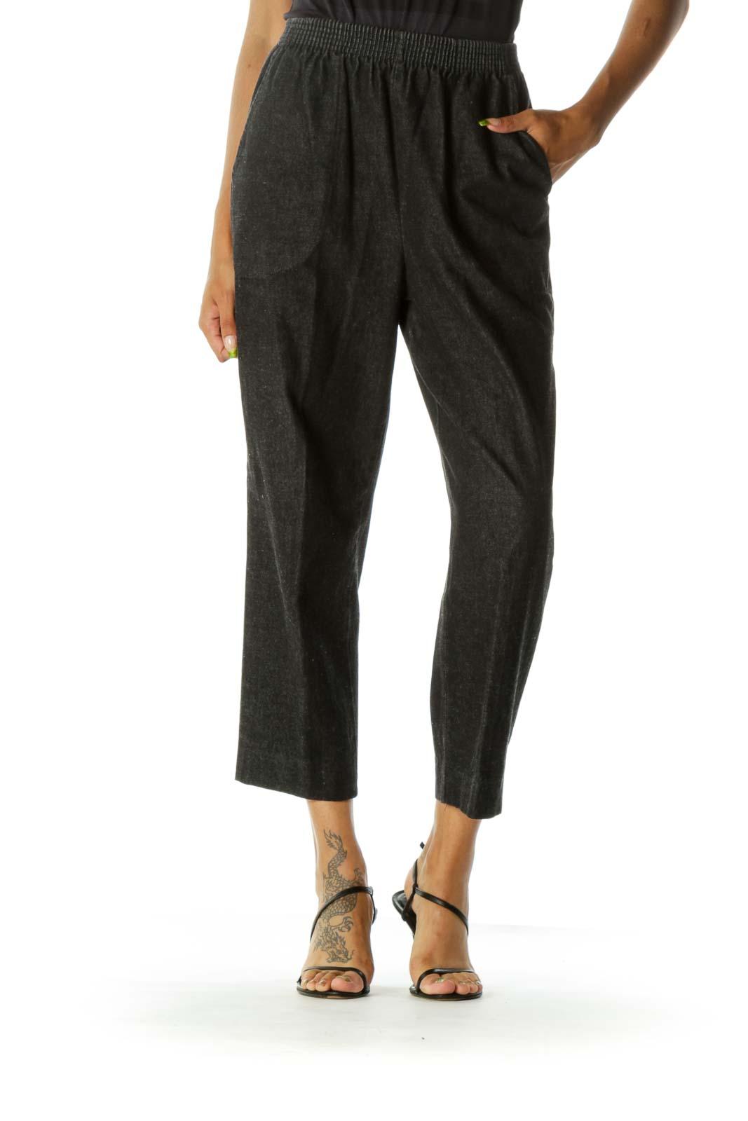 Black Dark Wash Straight Leg Pants Front