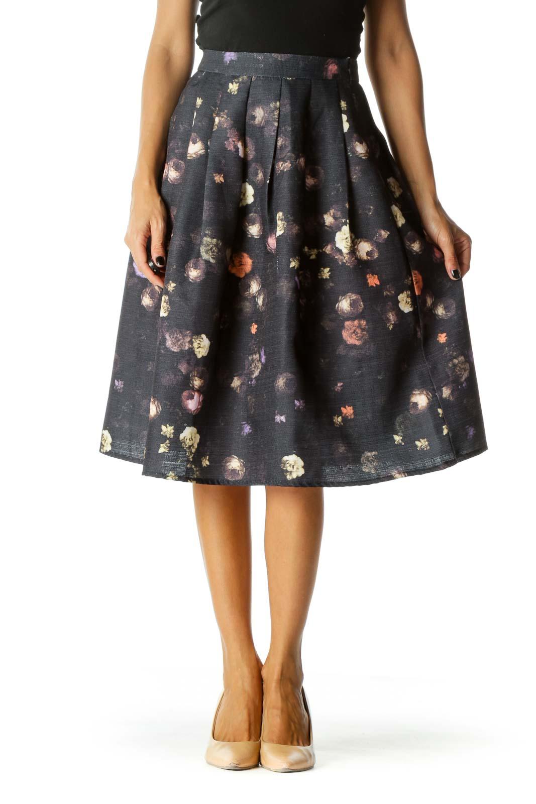 Black Purple Floral Midi Pleat Skirt Front