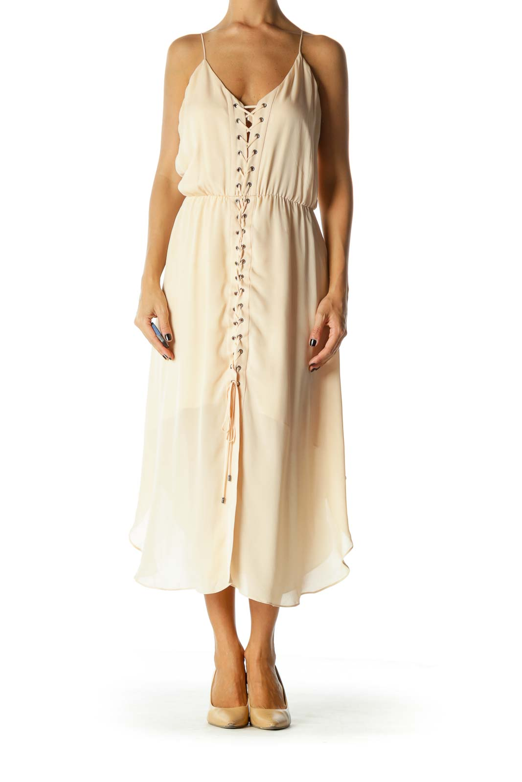 Light Peach Criscross Elastic Waist V-Neck Dress Front