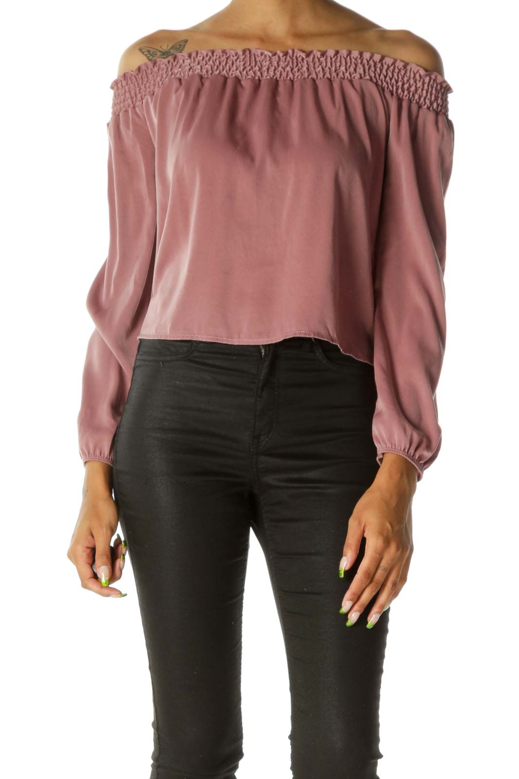 Pink Cold Shoulder Long Sleeve Soft Feel Top Front