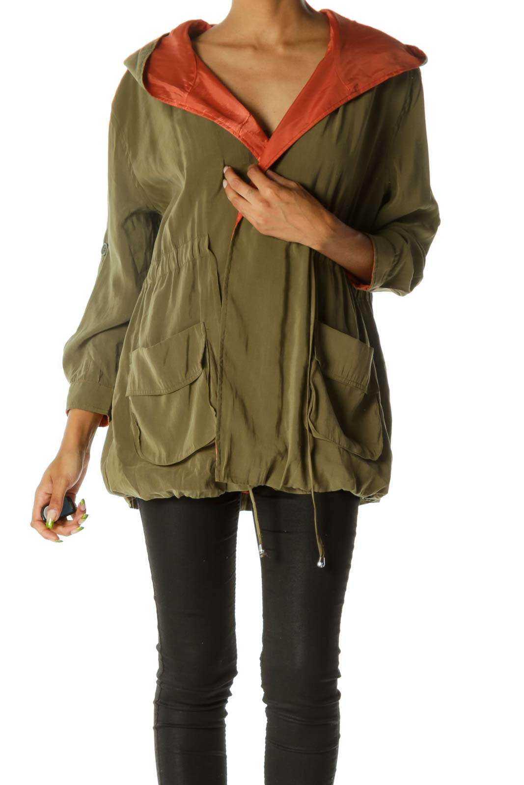 Olive Green Hooded Drawstring Open Jacket Front