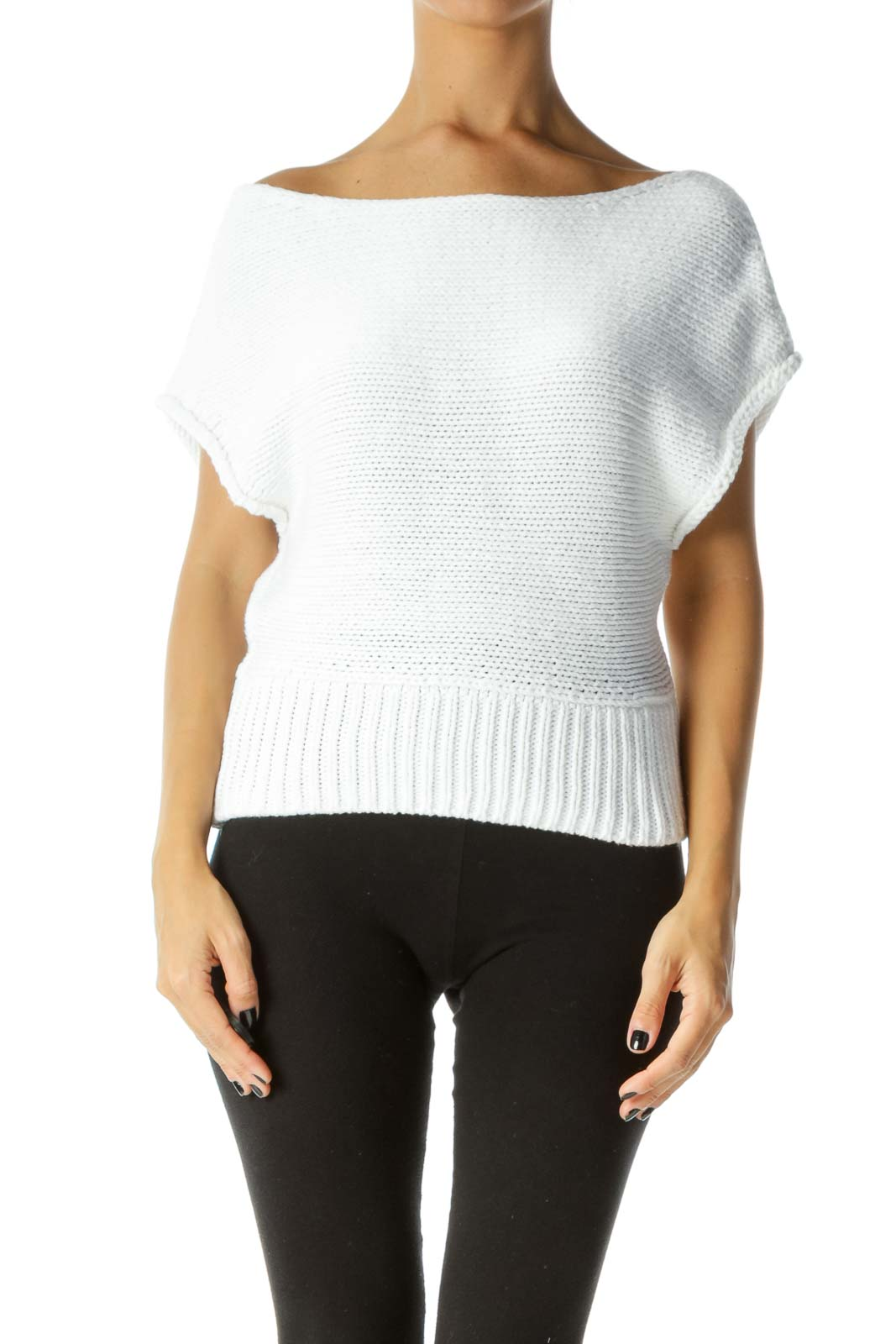 White Boat Neck Cap Sleeves Knit Top Front