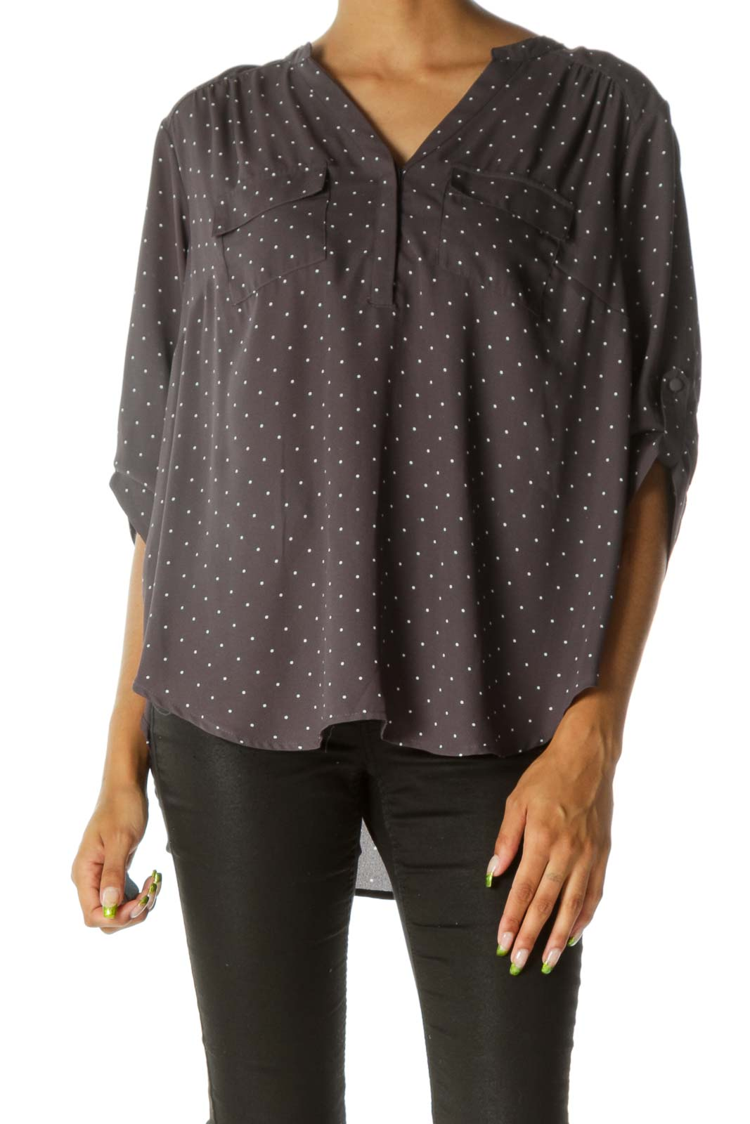 Gray White Dotted Breast Pockets V-Neck Light Shirt Front