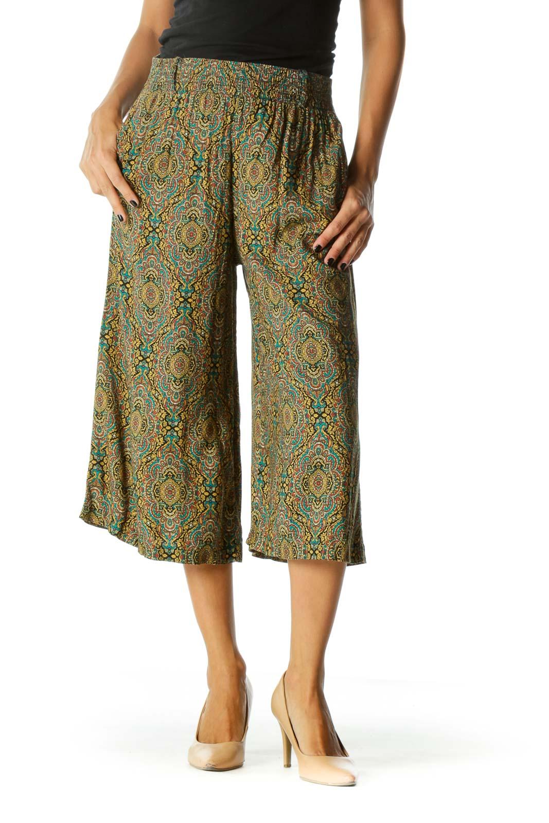 Multicolor Pattern Wide-Leg Cropped Pants Front