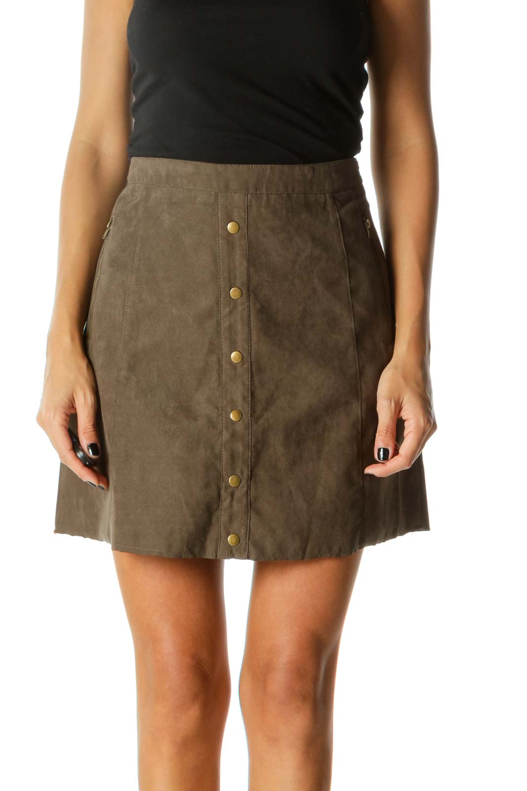 Brown Suede Button Mini Skirt Front