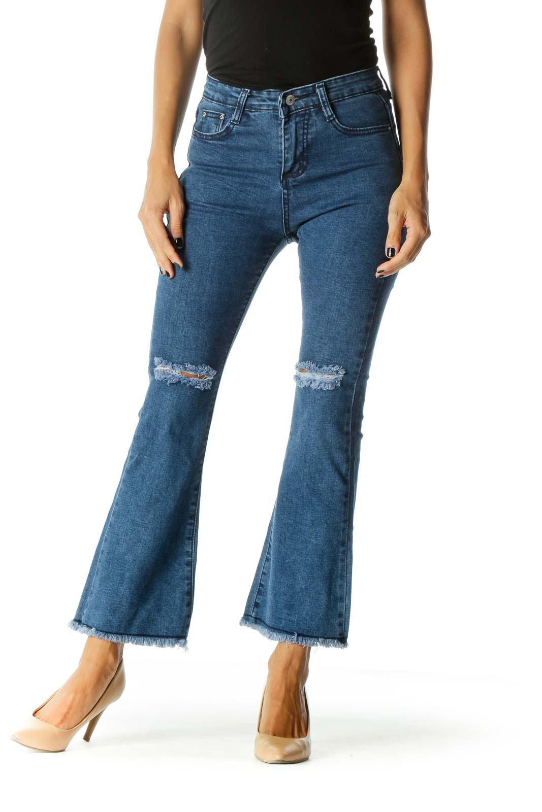 Blue Distressed Flare Jeans Front