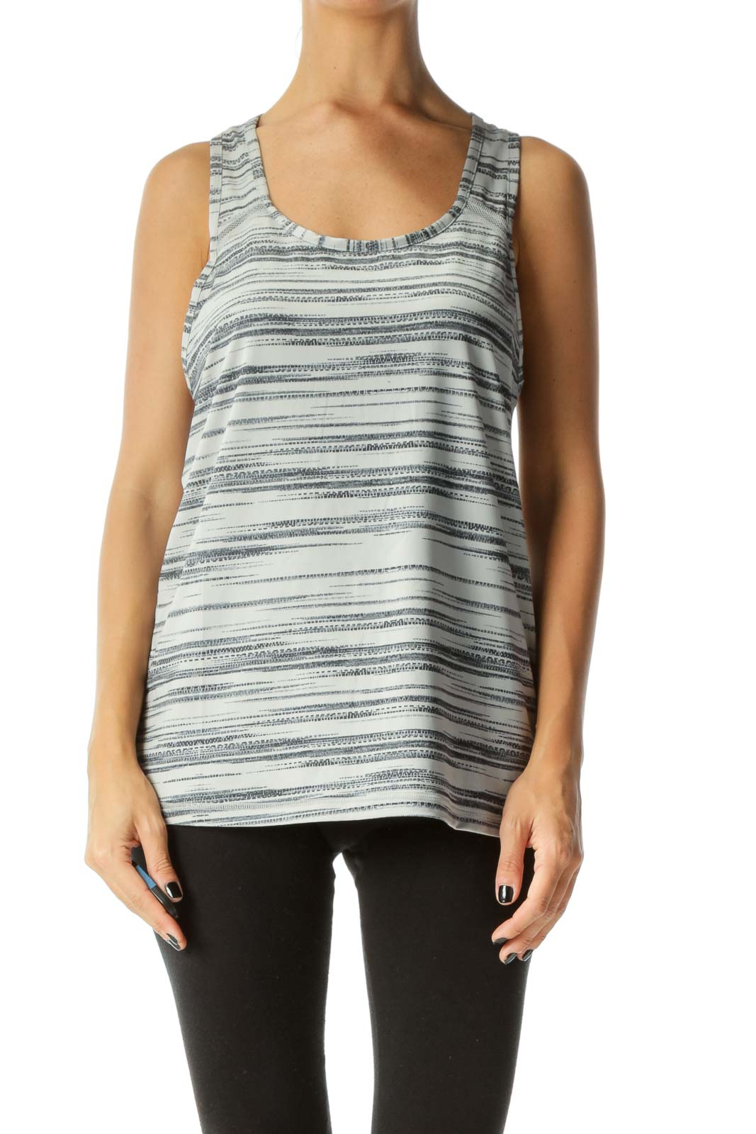 Gray Abstract-Stripe Patterned Racer-Back Net-Detail Yoga Tank Front