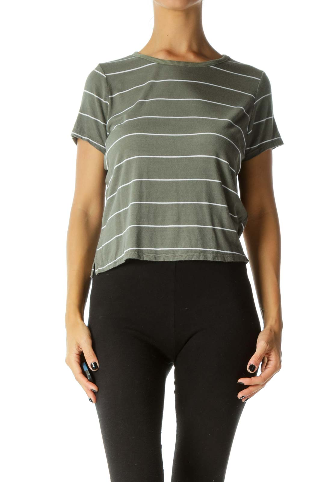 Olive & White Striped Short-Sleeve Tee-Shirt Front